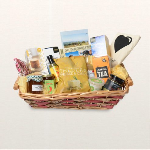 Crowdy Food & Drink Hamper On Silk background
